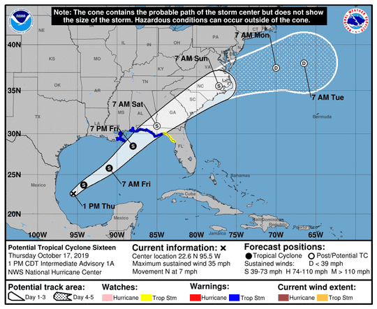 The cone of uncertainty for a disturbance in the Gulf of Mexico. This model was updated at 1 p.m. Thursday, Oct. 17.
