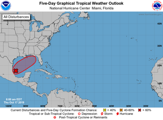 A tropical weather outlook issued by the National Hurricane Center Thursday morning shows a tropical storm likely developing in the next two days.