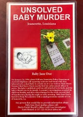 A flier created by Stephen Menard to help solve the murder of Baby Jane Doe.