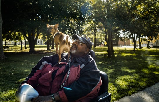 """Bill Sorrels and his one-year-old Chihuaha also named """"Bill"""" live about a block away from Reutter Park.  He sometimes parks his scooter and they walk for exercise there.  """"You know they (homeless people) don't bother me and I don't bother them,"""" he said.  """"I really don't think it's an unsafe place, and the city keeps it clean."""""""