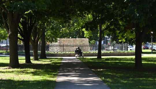 """Bill Sorrels lives about a block away from Reutter Park and sometimes parks his scooter to walk for exercise there.  """"You know they (homeless people) don't bother me and I don't bother them,"""" he said.  """"I really don't think it's an unsafe place, and the city keeps it clean."""""""