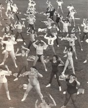 A picture of Jazzercise at a Dance for Heart benefit in 1985.