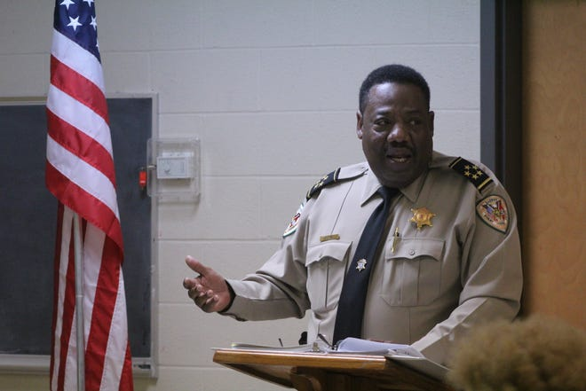 Shelby County Sheriff Floyd Bonner speaks during a Frayser Exchange meeting at Impact Baptist Church on Thursday, Oct. 17, 2019.