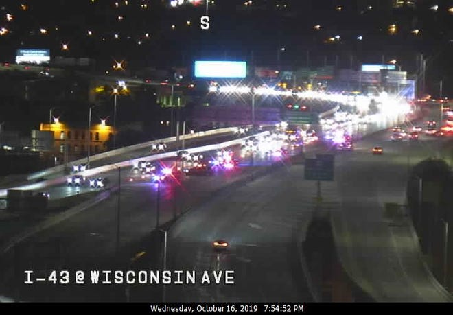 A traffic camera shows I-43 at Wisconsin Avenue about 8 p.m. All northbound lanes were closed at Michigan Street.