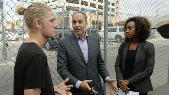"""Oconomowoc native Steven Sievert is on Ashton Kutcher's new show """"Going from Broke"""" on Crackle. During filming, Sievert, left, received financial advice from Dan Rosensweig, CEO of Chegg, and financial expertDanetha Doe."""