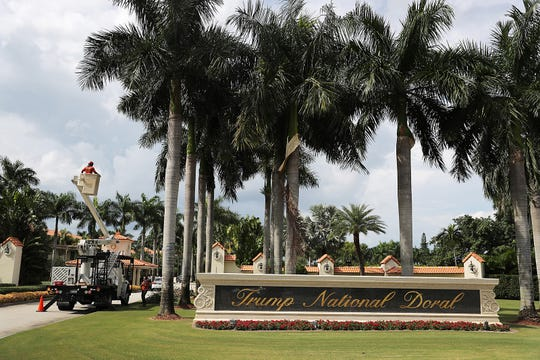 The front entrance is seen to the Trump National Doral golf resort owned by U.S. President Donald Trump's company in Doral, Florida.