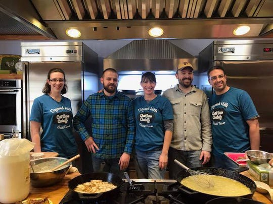 Dogwood Hills Farm will host the state Youth Cast Iron Cooking Competition from 11 a.m.-5 p.m Saturday, Nov. 2, at Harriet. Pictured are: (from left) Grace Pepler, Chef Cody Rudd, Ruth Pepler, Chef Casey Copeland and Thomas Pepler.
