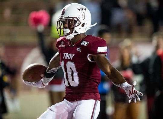 Troy defensive back Will Sunderland (10) scores a touchdown on an interception against South Alabama at Veterans Memorial Stadium on the Troy campus campus in Troy, Ala., on Wednesday October 16, 2019.