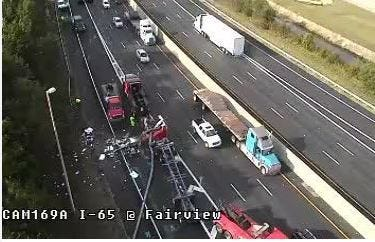 A fatal wreck at the Interstate 65 northbound exit to Fairview Avenue on Oct. 17, 2019.