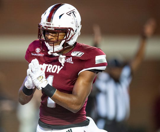 Troy wide receiver Kaylon Geiger (1) celebrates hit touchdown against South Alabama at Veterans Memorial Stadium on the Troy campus campus in Troy, Ala., on Wednesday October 16, 2019.