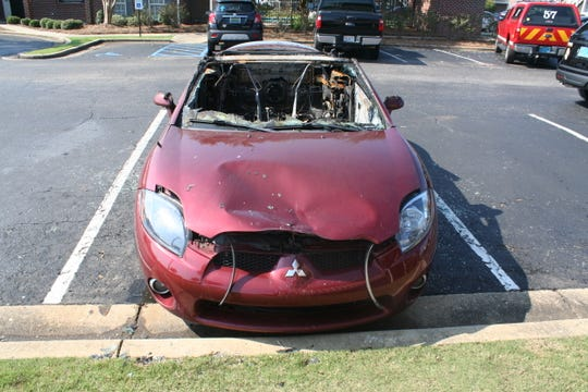 Montgomery fire investigators were searching for information about two suspects who set this car on fire in the parking lot of the Saddleback Ridge Apartments in August.
