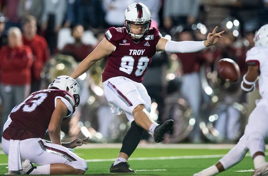 Troy kicker Tyler Sumpter (98) kicks a field goal against South Alabama at Veterans Memorial Stadium on the Troy campus campus in Troy, Ala., on Wednesday October 16, 2019.