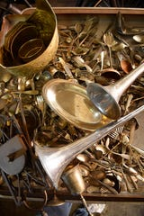 "Just some of the metal items that will be for sale are seen at PocketMoney Recycling at 2611 Gallatin Pike in Nashville. The shop is planning a yard sale to dispose of ""trashy treasures"" collected over the years."