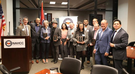 David Plazas, Manuel Delgado, Cathy Jennings, Rafael Vazquez, Briana Gatica, Eliud Trevino, Anel Flores, Juan Lombera, Luis Parodi, Roland Yarbrough, Mario Ramos, and Yuri Cunza gather at the NAHCC award celebration Wednesday night.