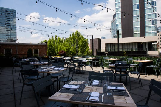 The 60-seat rooftop patio at The 404 Kitchen overlooks the Gulch.