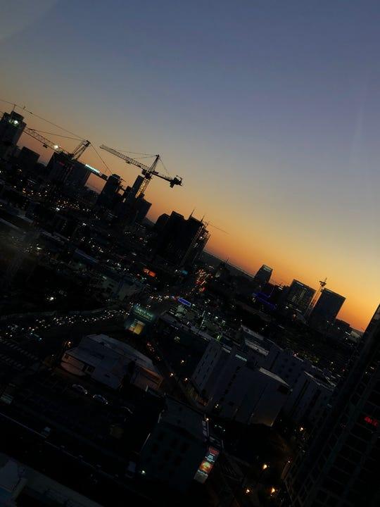 The sun rises over the Nashville skyline Monday, Oct. 14, 2019.