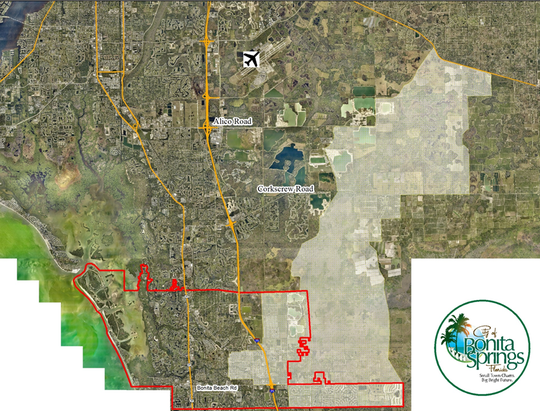 The gray area shows the 70 square miles of watershed land that leads to the Imperial River in Bonita Springs.