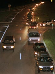 Traffic backs up on the way to the Everblades Arena for the first home game on Nov. 19, 1998.