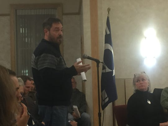 Attorney Michael Whitehead addresses Granville Council on behalf of Elm's Pizza at the Oct. 16 meeting.