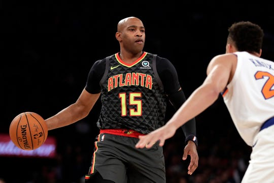 Oct 16, 2019; New York, NY, USA; Atlanta Hawks guard Vince Carter (15) looks to pass during the first half against New York Knicks forward Kevin Knox (20) at Madison Square Garden.