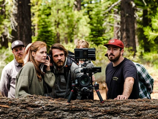 Behind the scenes, on the set of 'Westfalia': Forrest Jett, sound engineer; Haley Finnegan, director, executive producer and lead actress; Nicholas DePriest, associate producer; and Paul Heran, director of photography.