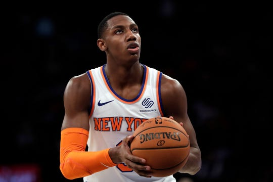 Oct 16, 2019; New York, NY, USA; New York Knicks forward RJ Barrett (9) takes a free throw during the second half against the Atlanta Hawks at Madison Square Garden. Mandatory Credit: Adam Hunger-USA TODAY Sports