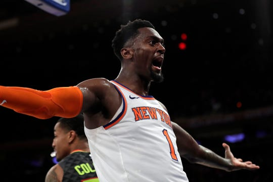 Oct 16, 2019; New York, NY, USA; New York Knicks forward Bobby Portis (1) reacts after making a basket during the second half against the Atlanta Hawks at Madison Square Garden. Mandatory Credit: Adam Hunger-USA TODAY Sports