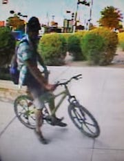 A bicycle used by an alleged debit card thief July 13 in Carlsbad. Eddy County CrimeStoppers is looking for information.