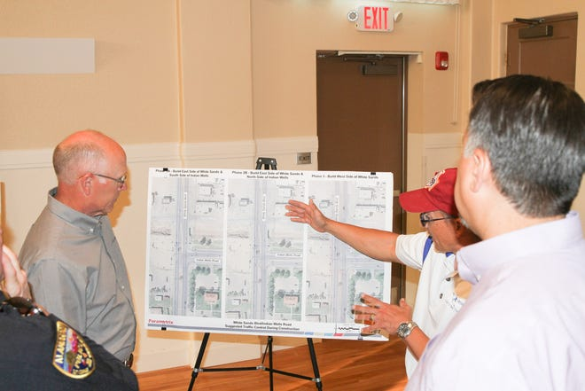 Locals looks over proposed road improvements to the intersection of White Sands Boulevard and Indian Wells Road at a public meeting Oct. 16.