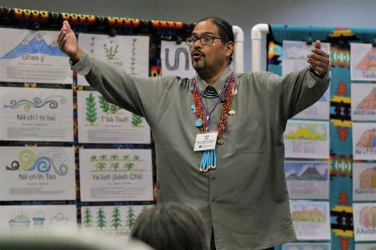 Albert Brent Chase, Navajo language teacher at Little Singer Community School in Birdsprings, Arizona, at the Diné Language Teachers Association conference in Farmington on Oct. 17, 2019.