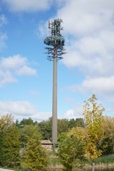 """A cell phone relay tower stands near the northeast intersection of Fourteen Mile and Orchard Lake. Metalic """"branches"""" have been added to it so that it mimics an evergreen tree. A similar-looking tower for Milford was just denied."""