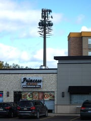 """A cell phone relay tower stands near the northeast intersection of Fourteen Mile and Orchard Lake. Metalic """"branches"""" have been added to it so that it mimics an evergreen tree."""