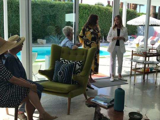Karlyn Neely, center, and Carrington Crank Goodman talk with Indian Wells Historic Preservation Foundation President Adele Ruxton at the dedication of the city's fourth historic landmark on Oct. 14, 2019. Neely owns the home on Fairway Drive that was designed by William F. Cody and built for Goodman's parents, developer Fillmore Crank and actress Beverly Garland, in the 1960s, in Indian Wells.