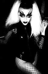 Natasha Backwards hosts the deathrock drag show on Oct. 31, 2019 at The Alibi Palm Springs.