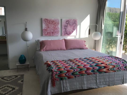 The master bedroom of the Crank-Garland house in Indian Wells as restored by Jessy Moss and Steve Jocz. The house was built in the 1960s, designed by architect William F. Cody, for developer Fillmore Crank and his actress wife Beverly Garland. It was dedicated as a city landmark on Oct. 14, 2019.