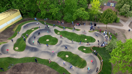 A conceptual image of a pump track like the one proposed for Lexington Terrace Park.