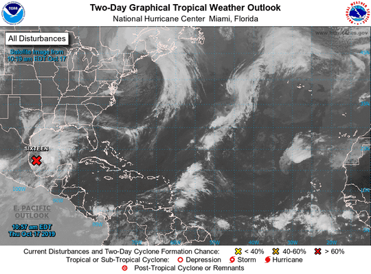 This two-day graphical tropical weather outlook shows tracks Nestor's movement.