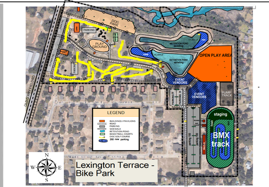 A rough concept showing what Lexington Terrace Park could look like if a BMX track is built.