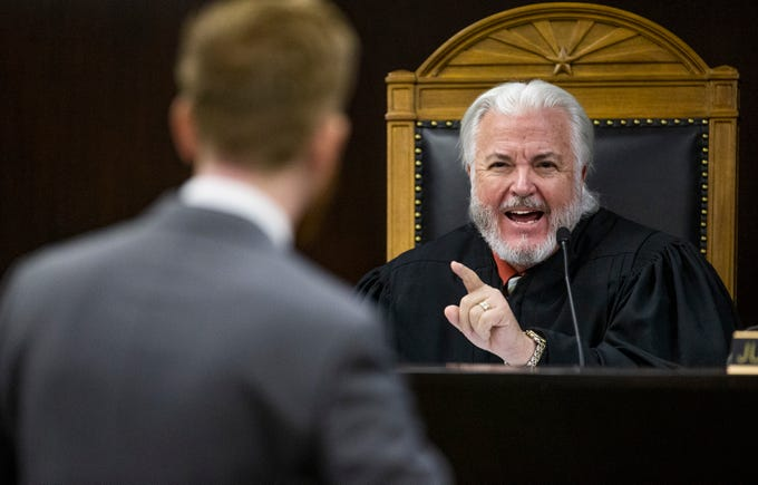 Arizona Court of Appeals Judge Kenton Jones asks Assistant Attorney General Terry M. Crist a question after Crist argued that prosecutorial misconduct should not overturn the verdict in the Jodi Arias murder trial. Oral arguments took place in Phoenix on Thursday, Oct. 17, 2019.