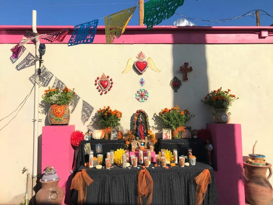The community ofrenda for Dia de los Muertos set up behind Tres Leches Cafe in Phoenix on Oct. 17, 2019.