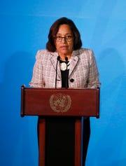 Marshall Islands' President Hilda Heine addresses the Climate Action Summit at U.N. headquarters on Sept. 23, 2019.