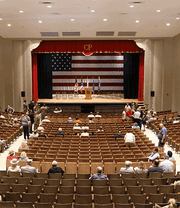 This photo taken by Sgt Joanna Bradshaw, of the Ohio National Guard Public Affairs, shows the renovations completed in 2018 inside the historical Hough Auditorium at Camp Perry.