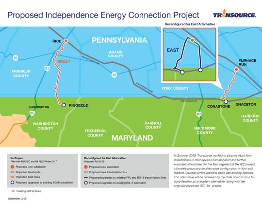 This map shows the new proposed route for the Transource Energy powerline.