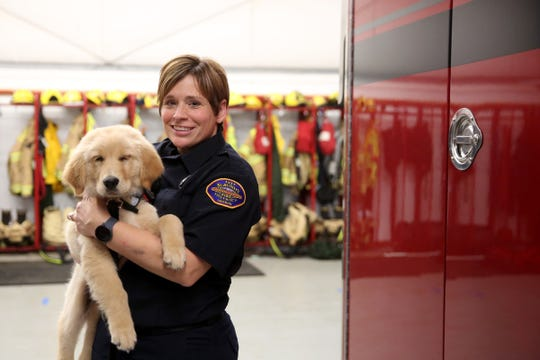 Probie, a 12-week-old golden retriever, is joining the Sublimity Fire District as an emotional support animal for the volunteer firefighters and will help with community outreach. Photographed with his handler and volunteer firefighter Amber Cross at the Sublimity Fire District on Oct. 16, 2019.
