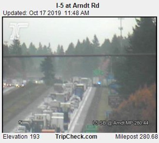 Southbound I-5 traffic at Arndt Road following a crash near Donald.