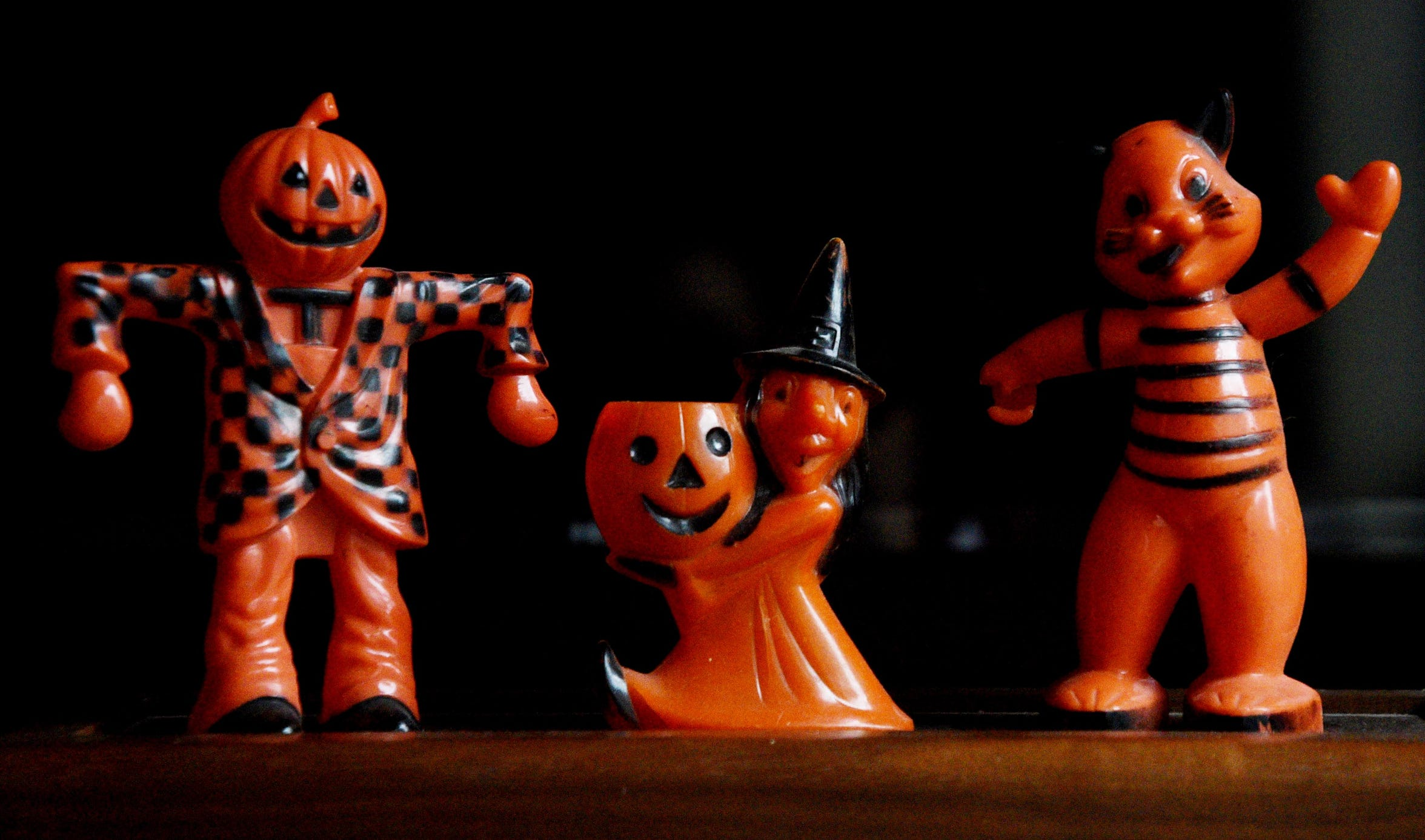 Vintage plastic Halloween candy holders from Deborah Hughes collection.