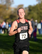 Brandon Valley's Britton Elkin finishes in third place during the Metro Conference cross country meet on Thursday, Oct. 17, 2019 at Yankton Trail Park.