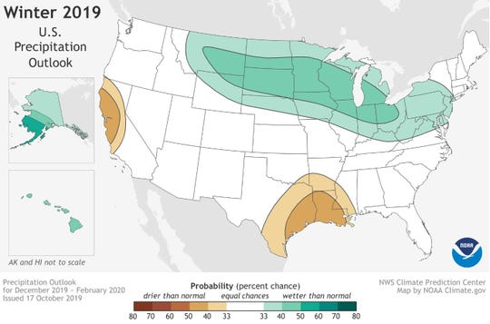 The Northern Plains are predicted to receive above-normal precipitation this winter.