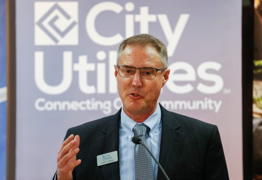 Gary Gibson speaks after being announced as the new general manager of City Utilities on Thursday, Oct. 17, 2019.
