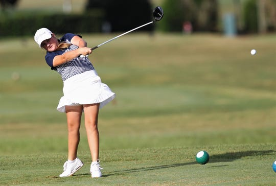 Maclay eighth-grader Ellie Jane Riner plays in the boys and girls District 2-1A golf tournaments at Southwood Golf Club on Wednesday, Oct. 16, 2019.